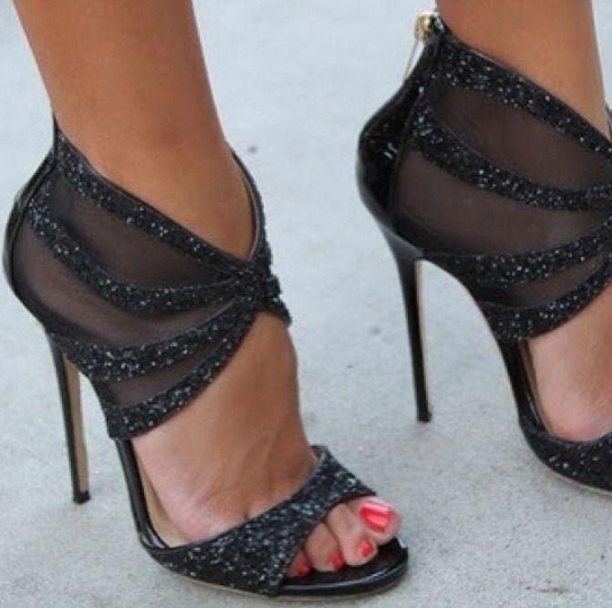 Jimmy Choo. High heels. Black. Glitter.