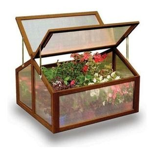 """Gardman USA - Large Wooden Cold Frame - Large Wooden Cold Frame - FSC Timber. 2'11"""" long x 2'7"""" deep x 1'11"""" high. Large, rigid solid wood frame. Two slatted wooden shelves. Twin-wall Polycarbonate glazing. Hinged doors with latch bolt fastening. Hinged lid with locking stays for ventilation."""