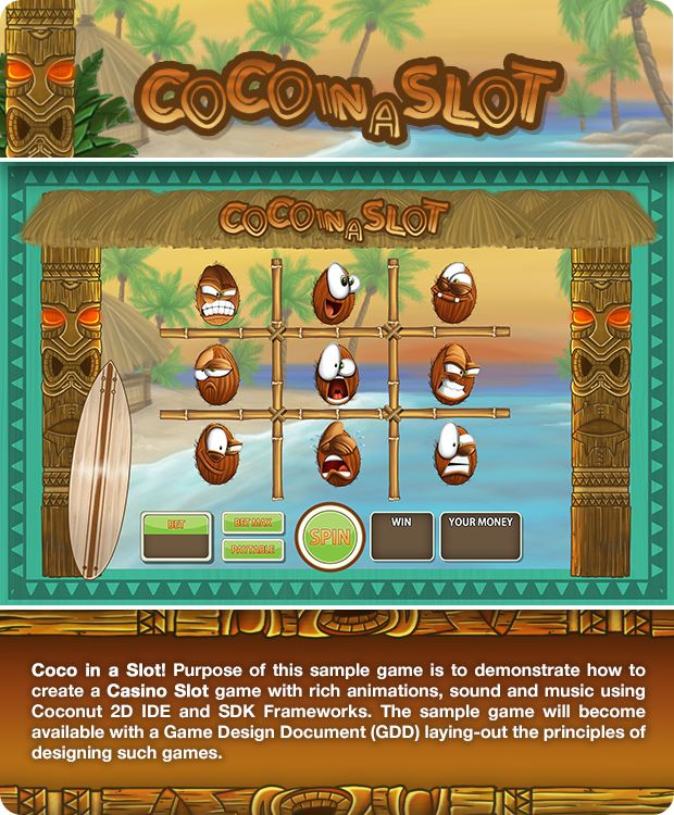 Coco in a Slot! A Coconut2D sample game to demonstrate how to create cross-platform Casino Slot game with rich animations and sound effects, using Coconut2D IDE and SDK.