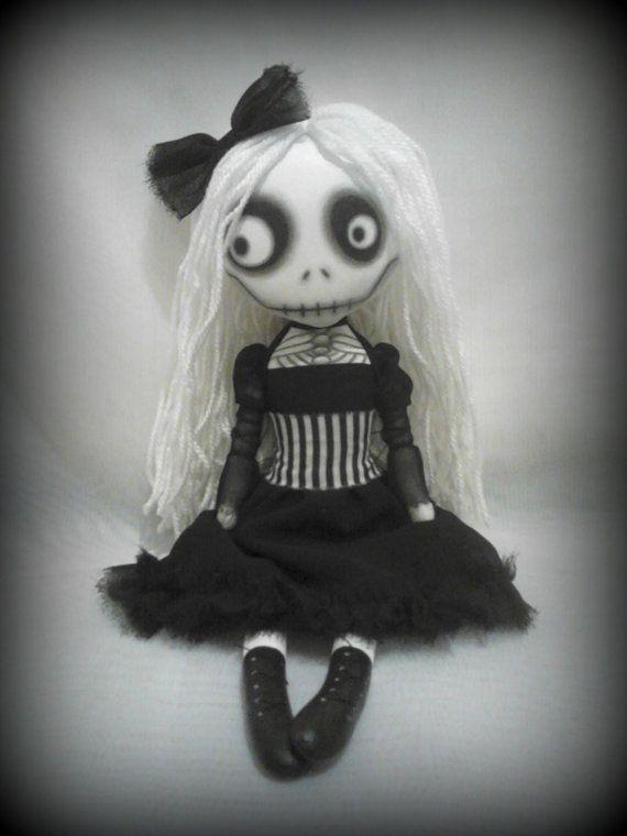 Gothic Art Rag Doll  Penny Dreadful  RESERVED by ChamberOfDolls