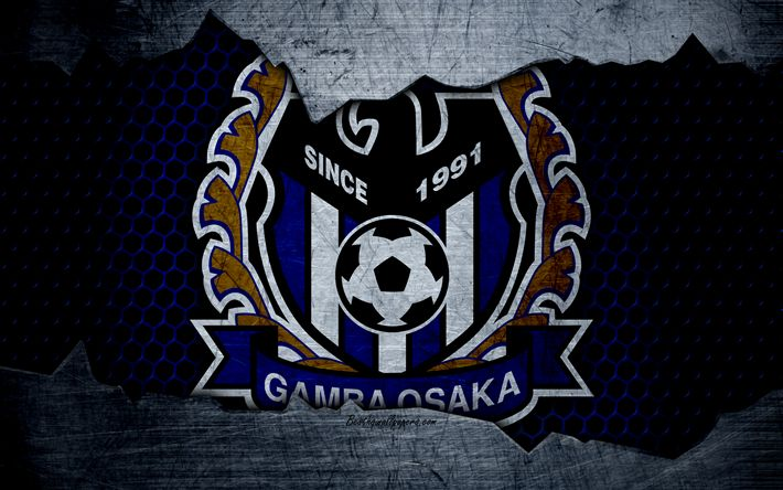 Download wallpapers Gamba Osaka, 4k, logo, art, J-League, soccer, football club, G-Osaka, metal texture
