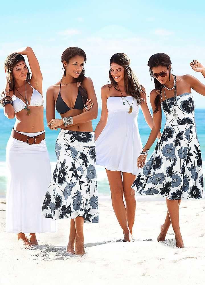 LASCANA Black & Grey Print 4-in-1 Beach Dress
