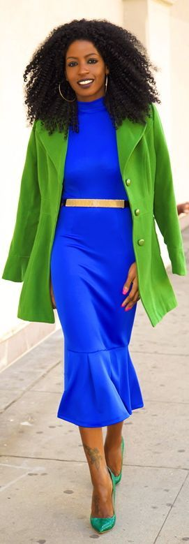 Rainbow Bright Colors / karen cox. Structured Coat + Trumpet Midi Dress by Style Pantry - bright color street style