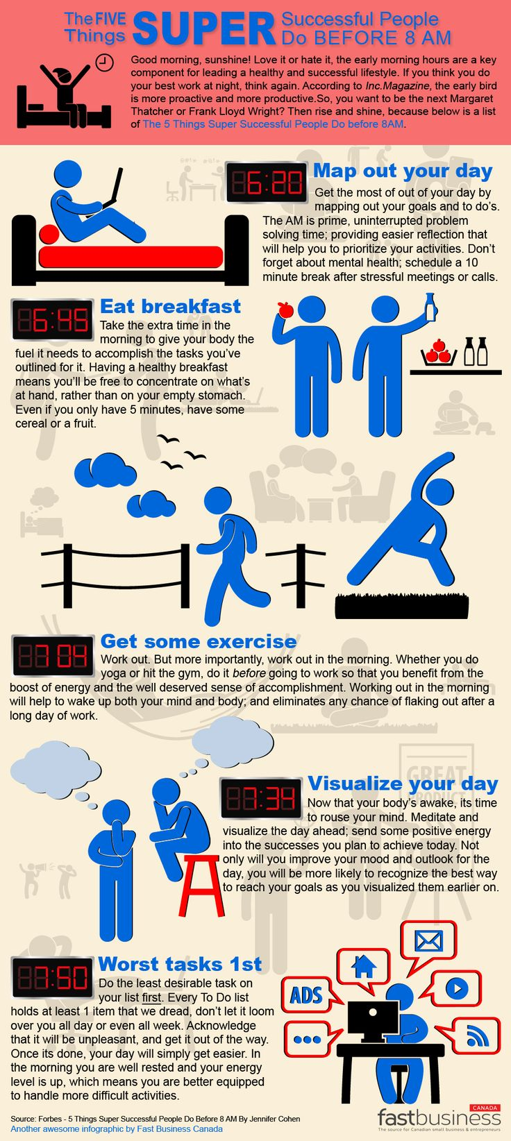 infographic: the 5 habits of highly successful people they do before 8 am. FIVE Things Super Successful People Do Before 8AM