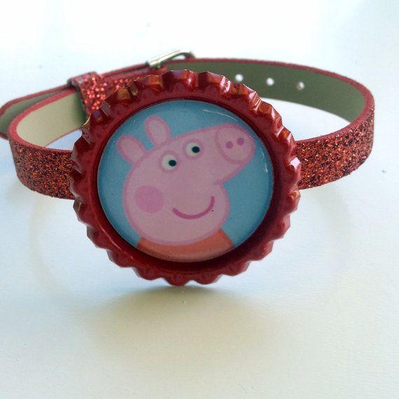 Peppa Pig Boutique Bottlecap Bracelet Buckle Party by OliverandMay, $4.00