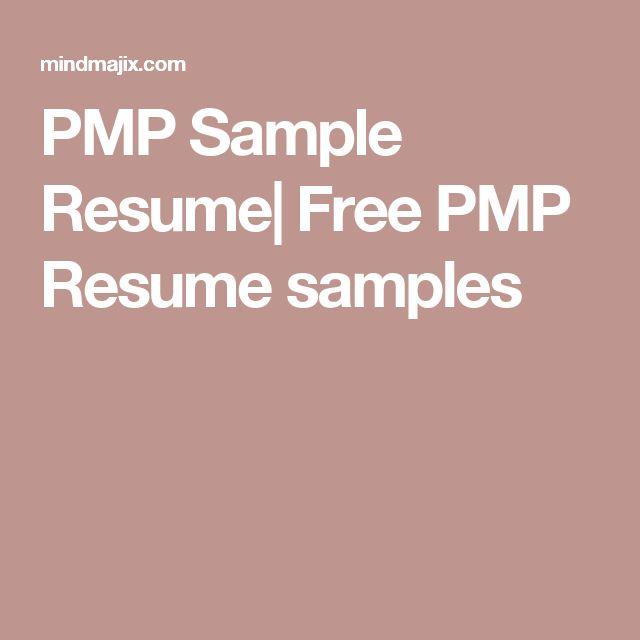 PMP Sample Resume| Free PMP Resume samples