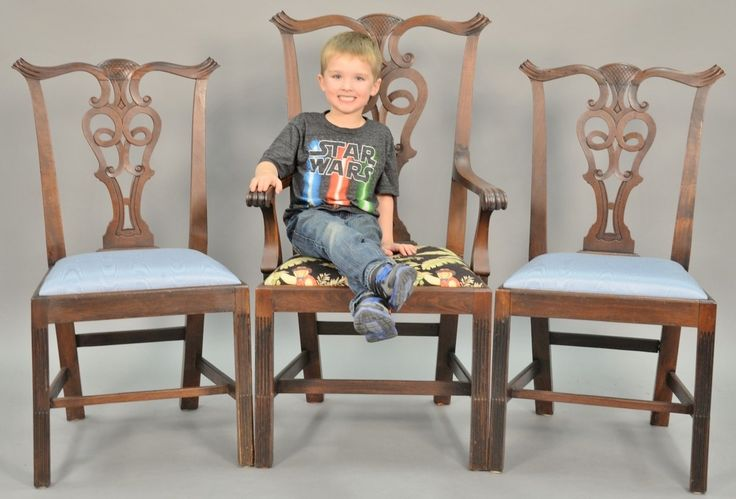 Set of ten custom mahogany Newport Chippendale style dining chairs Realized Price $7,200.00