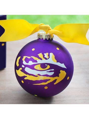 $14.50 4 LSU Love Purple Live Gold Tiger Eye Glass Keepsake Ornament