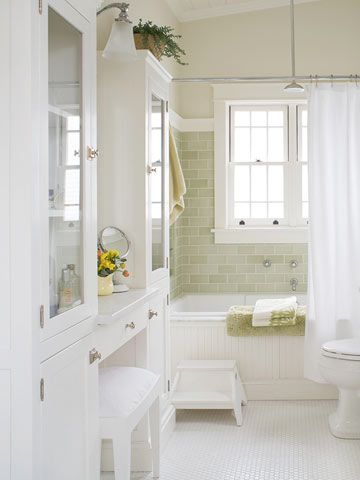 BHG, green subway tile, penny tile floor, glass doors on cabinets: Green Tile, Tubs, Color, Masterbath, Subway Tile, Vanities, Bathroom Remodel, Master Bath, White Bathroom