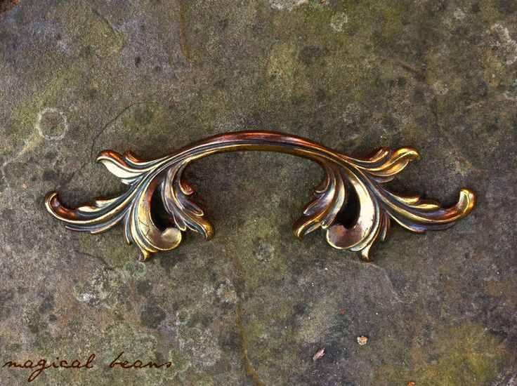 Vintage French Provincial Brass Dresser Pull by Keeler Brass Co by MagicalBeansHome.com