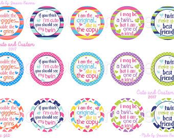 Twins Bottle Cap Images- INSTANT DOWNLOAD- 1 Inch Circles- All About Twins- Twin Sayings- Bottle Caps- Best Friends- Bottle Cap Images