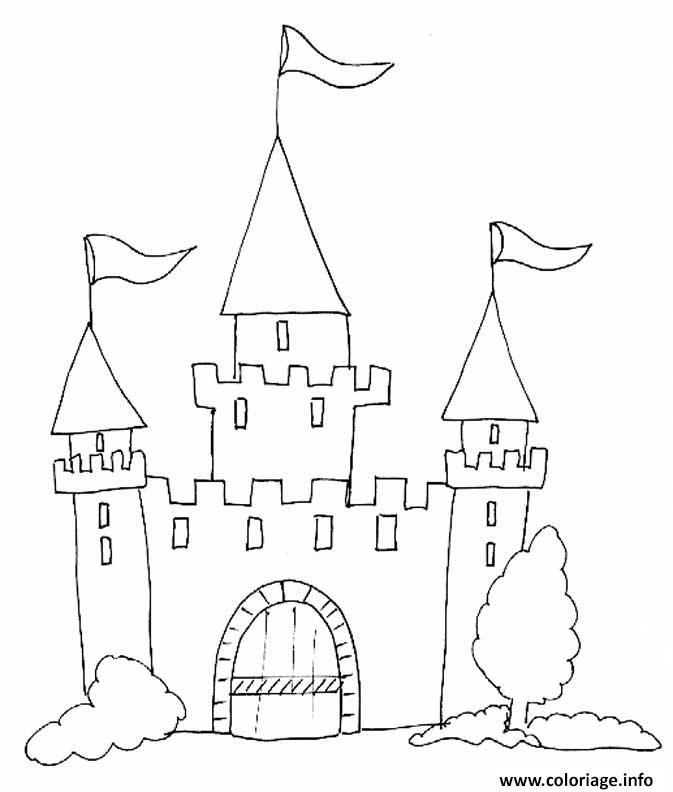 Coloriage Chateau Fort Maternelle Enfant Dessin A Imprimer Avec