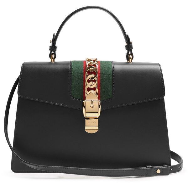 Gucci Sylvie large leather shoulder bag ($2,890) ❤ liked on Polyvore featuring bags, handbags, shoulder bags, chain purse, genuine leather handbags, gucci purses, real leather purses and striped purse