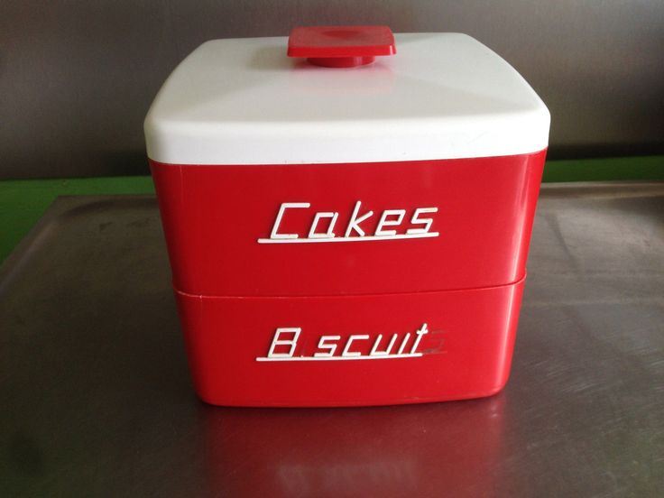 Vintage/Retro Nally Ware Red With White Lids Cake U0026 Biscuit Stackable Set