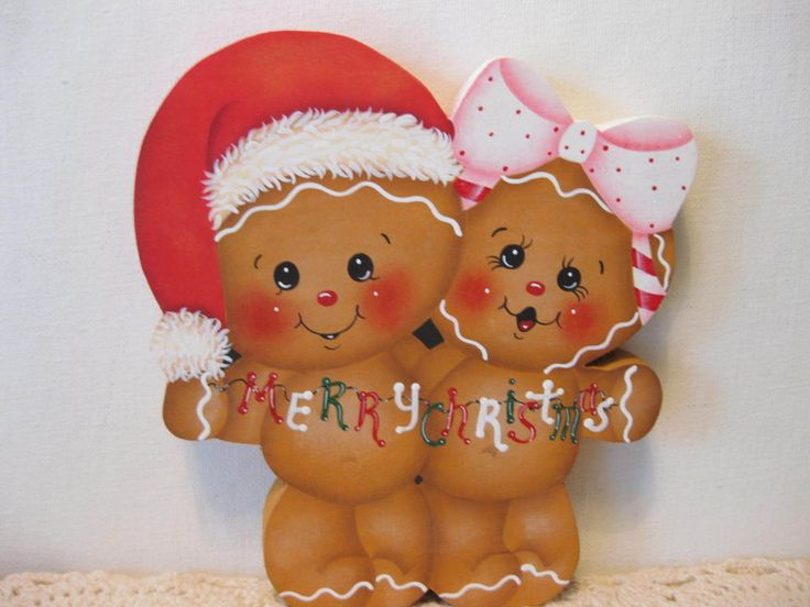 HP Gingerbread Merry Christmas ginger couple Shelf Sitter hand painted USA