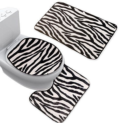 Uomere 3 Piece Black White Zebra Bathroom Mat Set
