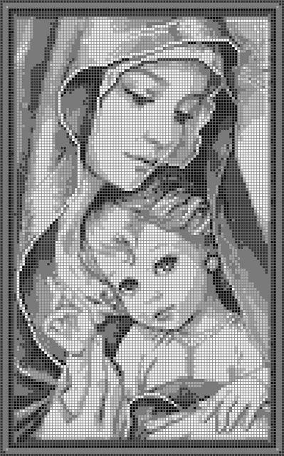 Schemi a punto croce religiosi- Madonnina con bambino