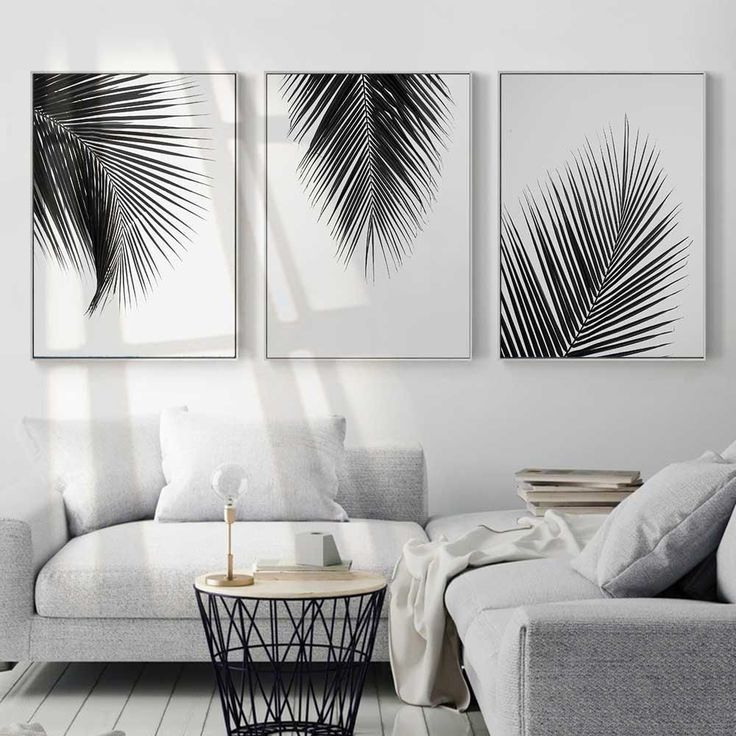 Black & white leaves canvas print