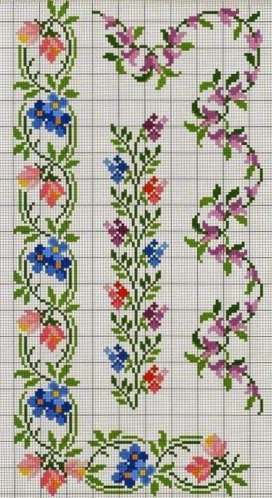 Tutoriales y DIYs: Punto de cruz - Cenefa de flores con esquinas