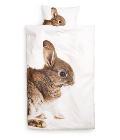 Can we please have this available in the US? I want this for my daughter's room! // Duvet Cover Set £14.99 from H // Rabbit on White Organic Cotton
