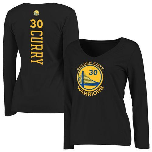 Golden State Warriors Stephen Curry Black Long Sleeve T-Shirt