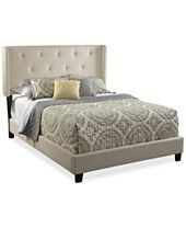 Aveline All-N-One Fully Upholstered Shelter Queen-Size Bed, Direct Ship