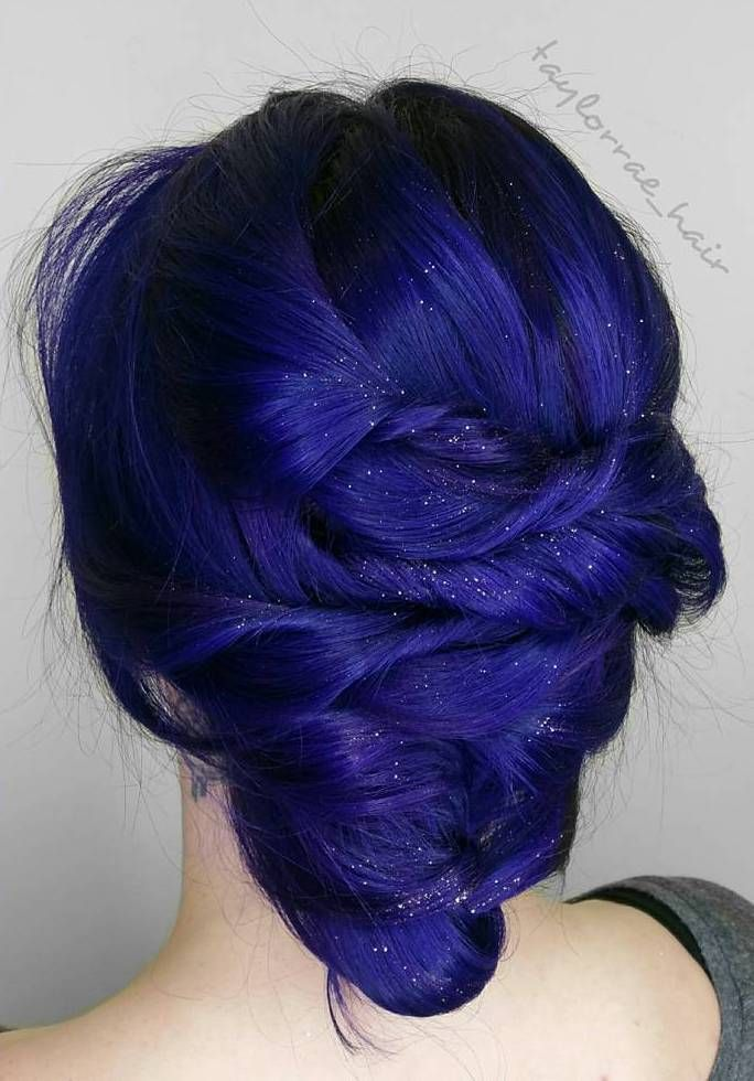 Indigo+Blue+Twisted+Updo