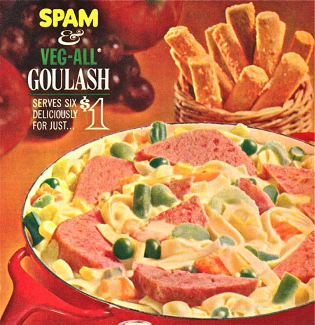 """Spam & Veg-All Goulash.""   Geee-Rohhse!: Veg All Goulash Ppc, Simply Fun Weird Wrong Odd, Veg All Goulash Yum, Vintage, Food, Early 60S Women S, Veg All Goulash Ick, Spam, Ephemera Mystery Meats"