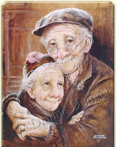 "Dianne Dengel ""Side By Side"" - painting of elderly couple embracing, sepia colors"