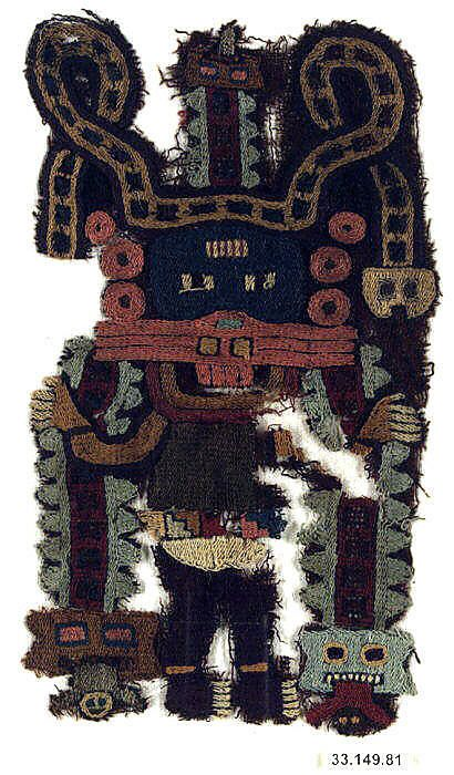 Paracas, Embroidered Fragment, Peru, 3rd-2nd century BCE