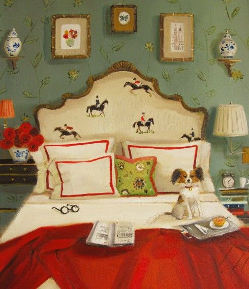 Red Roses and Dark Horses, by Janet Hill  My husband feels that this piece needs explaining. He had many questions about it. Why is there a dog on the bed (like that is anything unusual in our house)? Who does that paper belong to? Whose glasses are those? Etc, etc. I have no idea why he finds this piece so complicated. It's simply a dog on a bed with a half grapefruit and a horsey headboard. Does it need more explanation? I think not.