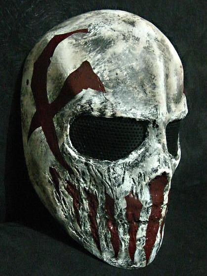Airsoft Wire Mesh Army Mask (Red Scars Skull)