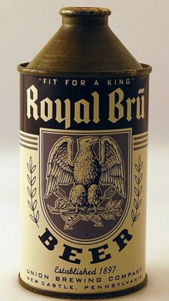 Royal Bru High Profile Beer Can from Union Brewing Company vintage beer  labels