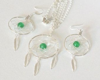 Jade nativo americano Inspirado Dreamcatcher collar y aretes