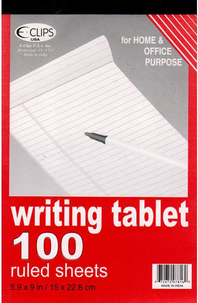 """writing tablet - ruled paper - 100 sheets- 6"""" x 9"""" Case of 48"""