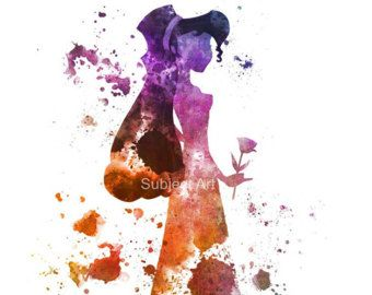 Ariel en la roca la Sirenita inspirada ilustración por SubjectArt