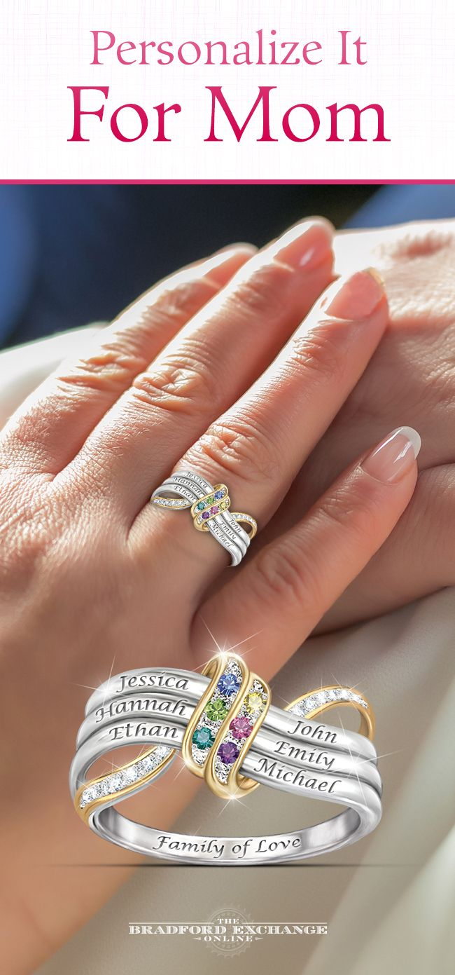 Create a beautiful celebration of family for Mom! Personalize this meaningful ring with a tribute to each special family member. Includes a custom gift box.