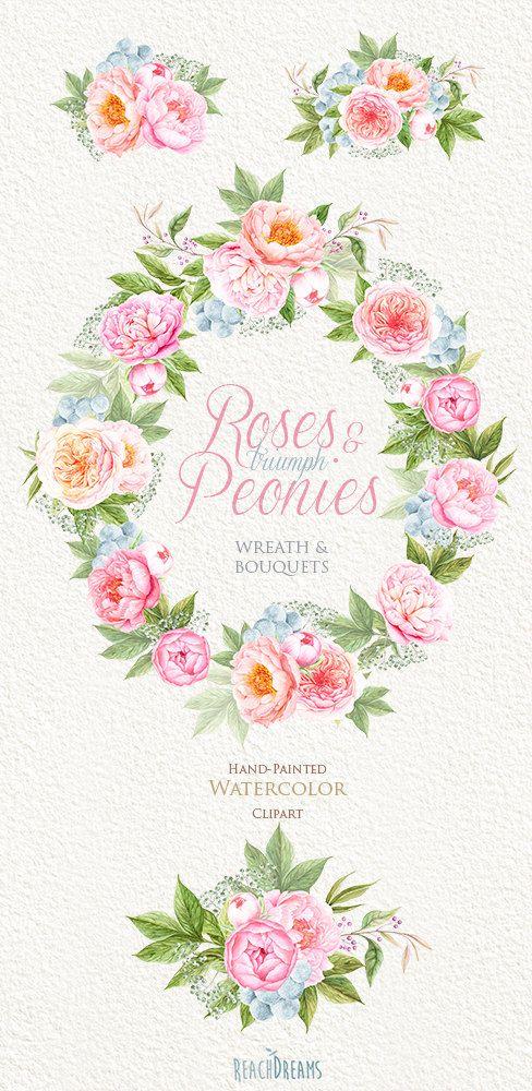 Wedding Watercolor Wreath & Bouquets Peonies by ReachDreams