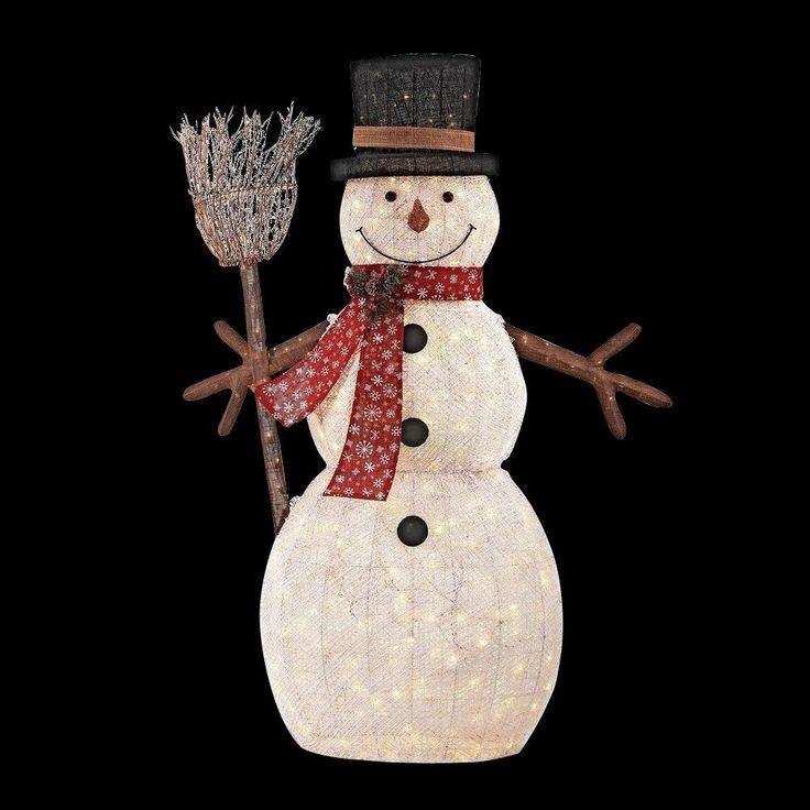 LED Lighted PVC Cotton String Snowman with