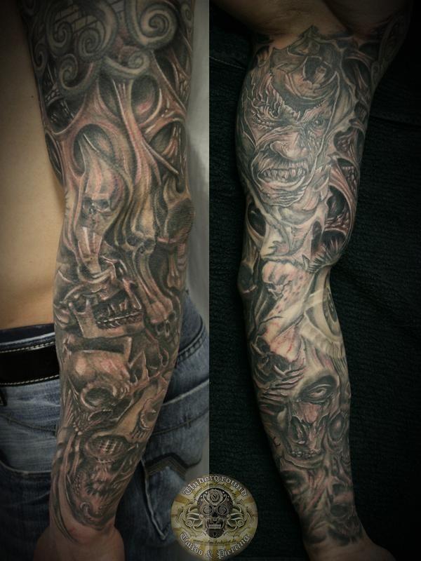 Sleeve Horror Skull Characters By 2face Tattoo On Deviantart In 2020 Zombie Tattoos Sleeve Tattoos Horror Skull