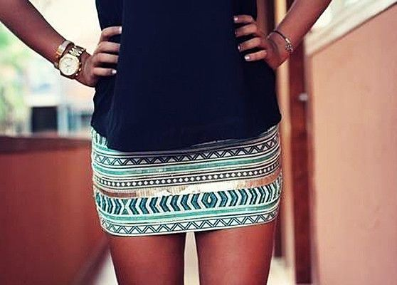 Blue and Gold Aztec print skirt