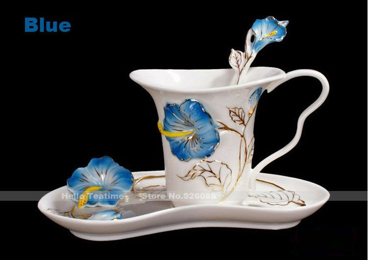 Fantaisie fleur en émail de porcelaine tasse de café, peinture spéciale de lait de couleur tasse ensemble, tasses à thé de mode, 1mug+ 1saucer+ 1 cuillère.