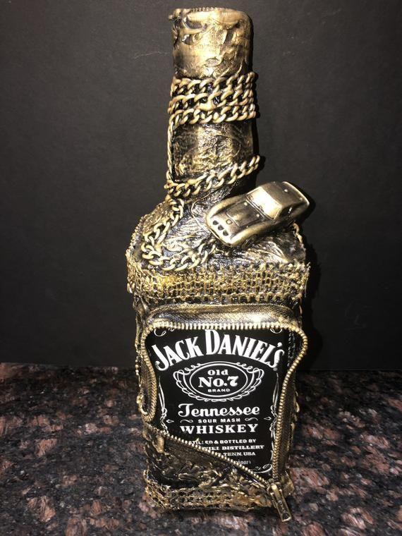 Jack Daniels Decoupaged Steam Punk Bottle Upcycled Bottle Bottle Art Jack Daniels Bottle Bottle Art Wine Bottle Crafts
