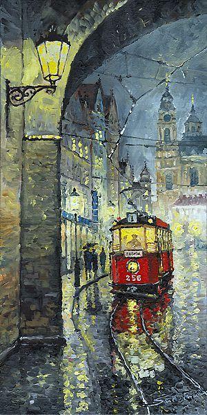 Praha Red Tram Mostecka str