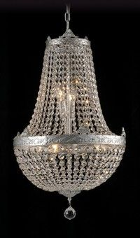 French Empire Traditional Antique Silver Chandelier 6 Lights Medium