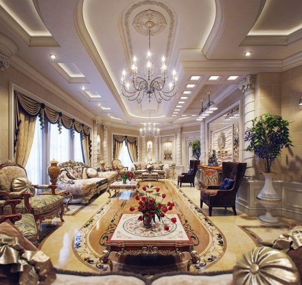 Amazing Living Room Tiered Ceiling Luxury Villa In Qatar Furniture Interiordesign