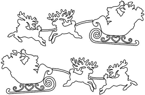 Новогодняя вытынанка Санта и олени