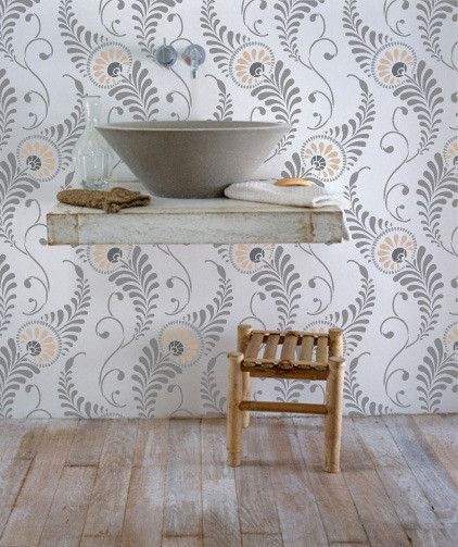 add natural movement and a feather pattern to a wall floor or ceiling with our feathered damask wall stencil details stencil ideas how to stencil
