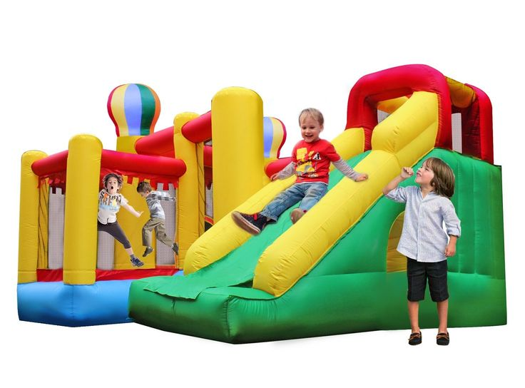 BestParty Climbing Playhouse Slide Castle Inflatable Bouncer With Blower. Kids can enjoy slide fun perfectly,and more than that,they can also play basket ball,climb wall,and crawl through a tunnel.Perfect kingdom castle playhouse for young kids. Built of puncture-resistant and fire-resistant eco-friendly (lead free and 6P free) material.Reinforced high net sidewalls provide a safe enclosed play area.Parents can watch the fun too. Inflated size:10'L×10'W×7'H(ft), suitable for outdoor…