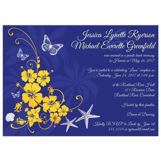 Bright blue and yellow wedding reception only invitation with subtle palm tree silhouettes with gorgeous yellow hibiscus type flowers and vines, white butterflies, scallop sea shells and a pair of starfish.